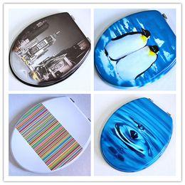 Decken scharniere online-Farbdrucktoilettendeckel Sitz Toilettendeckel schnell schließen Kirsite Metallscharniere MDF-Material mit 6 Farben