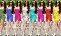 Wholesale Peplum Dress Xs - Summer explosion models in Europe and America star with sexy suspenders package hip nightclub dress DFML122,summer dresses for women