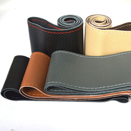 Wholesale Pu Steering Wheel - DIY PU leather Car Steering Wheel Cover case With Needles and Thread Hot Selling