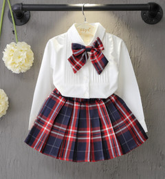 Wholesale Mini Skirt Top Set - Spring Autumn Fashion Boutique Outfits Sets For 2 Pcs Kids Girl Long Sleeve Cotton Shirts Bow Tops+Plaid Tutu Skirts Sets Baby Girls