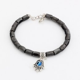 Wholesale Evil Eye Loose - Hot ! 20pcs fashions Hamsa Hand String Evil Eye Black Magnetic Hematite 18 Faceted Beads Metals Alloy Loose Bead Beaded bracelet