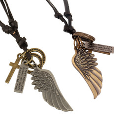 Wholesale Vintage Wings Necklace - Wholesale Fashion Jewelry Angel wings Necklace Men Personality Leather Rope Alloy Clavicle Necklace Casual Vintage Punk Necklace N0034