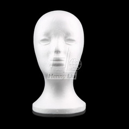 Wholesale Manikin Display - Wholesale-Female Styrofoam Foam Mannequin Manikin Head Model Wig hair Glasses Hat Jewelry Display