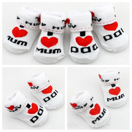 Wholesale Kids Rubber Socks - MOONBIFFY Baby socks rubber slip-resistant floor socks love dad love mum cartoon kids socks for girls boys Free Shipping
