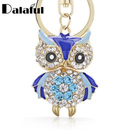 Wholesale crystal owl ring - Cute Owl Crystal Key Chains Rings Holder For Women Flower Purse Bag Buckle Pendant For Car Keyrings KeyChains K288