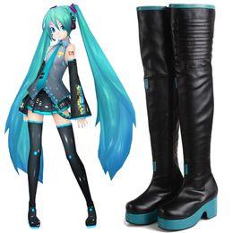 Handgemachte schuhe cosplay online-NEUE Japanische Anime COS Handgemachte Vocaloid Hatsune Miku Cosplay Stiefel Schuhe Kundenspezifische Hohe Qualität Halloween Handcrafted