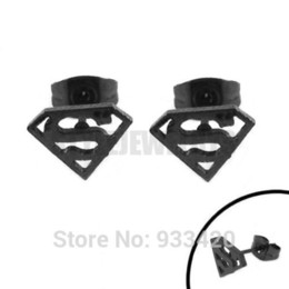 Wholesale Earring Superman - Free Shipping! Black Superman Earring Body Piercing Stainless Steel Jewelry Trendy Motor Biker Earring Studs SJE370135