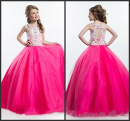 Wholesale Perfect Ribbon - Lovely Girl Perfect Angles Ball Gown Girls Pageant Dresses Fuchsia Cute Formal Dress Prom Dresses Hollow Nationals Interview Dresses