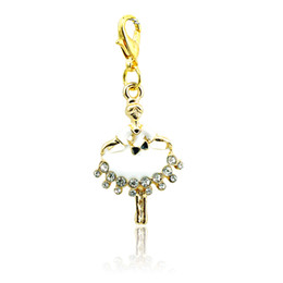 Wholesale Girl Dancer Jewelry - 2016 Fashion Charms Gold Plated White Rhinestone Dancer Lobster Clasp Alloy Charms Girls DIY Jewelry Accessories