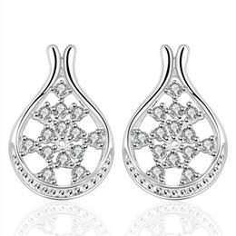 Forma da flor do casamento de prata esterlina colar de jóias para as mulheres DN390, populares brincos de prata branca 925 gemstone de Fornecedores de brincos de diamantes reais por atacado