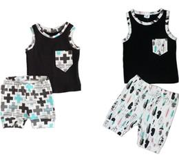 Canada vêtements pour bébés costumes bébé enfants été shorts et gilet vêtements ensembles de mode gilet garçons + shorts tenue deux pièces 006 supplier infants suits Offre