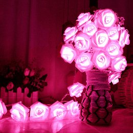 Wholesale Rose Fairy String Lights - 20 x LED Novelty Rose Flower Fairy String Lights Wedding Garden Party Christmas Decoration 8 Color Night Light Nightlight