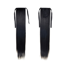 Wholesale Synthetic Hair Extentions - Fashion Ponytail Hairpieces 22inch 55cm 100g #1 Natural Black Color Long Synthetic Hair Extensions Free Shipping Ponytails Hair Extentions