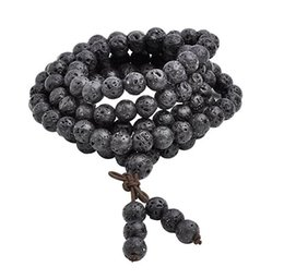 Wholesale mala prayer bead necklace - 8mm Natural Lava Rock Stone Healing Gemstone 108 Buddhist Prayer Beads Tibetan Mala Bracelet Necklace