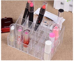 Wholesale Wholesale Makeup Stands - Cosmetic Organizer 24 Makeup Lipstick Storage Display Stand Case Rack Holder+gift