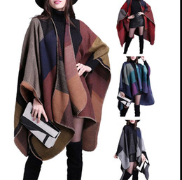 Wholesale Ladies Poncho Wrap Scarf - Cashmere Scarf Patchwork Plaid Women Cape Poncho Wrap Shawl Blanket Cloak Lady Shawl Cape 130*155CM KKA3274
