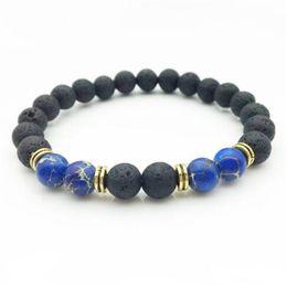 Wholesale Agate Sale - Natural Stone Bracelet Hot Sale Natural Lava Stone Beads Handmade Bracelet Elastic Unisex Beaded free shipping
