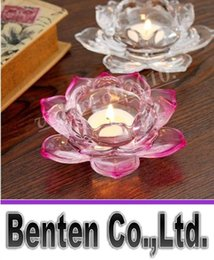 Wholesale Crystal Votive Holders Wholesale - Crystal Lotus Candle Holders Home Decor for Weddings Decoration Votive Candle Holders For Home Bar LLFA11