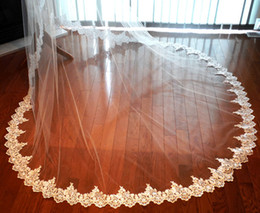 Wholesale Ivory Beaded Wedding Veils - 2016 New Top Quality Best Sale Cathedral White Ivory Beaded Edge veil Bridal Head Pieces For Wedding Dresses
