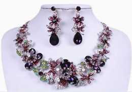 Wholesale Earring Butterfly Clasp - Gorgeous bridal jewelry sets butterfly flower necklace earrings sets wedding party jewerly sets European style