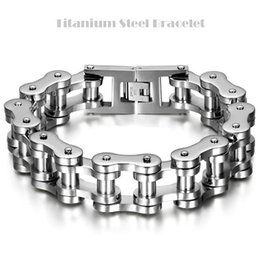 Wholesale Bicycle Chain Links - High Quality Men Punk Heavy Pulseras Titanium Steel Bracelets Bicycle Chains biker Bracelet Wristbands Bangles Trendy Jewelry Brace lace