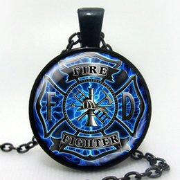 Wholesale Firefighter Gifts - Wholesale- New Fashion art gift Firefighter Necklace silver plated fire fighter jewelry Glass Cabochon Dome Pendant dropshipping