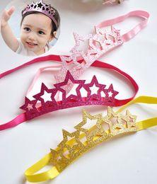 Wholesale Baby Headbands Stretch Elastic - Shining Star Baby Crown Heandband Great Quality High Stretch Elastic Headbands Mix 3 Colors Golden Pink