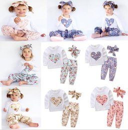 Wholesale Hair Girl Plaid - Baby girl INS heart-shaped flower Suits Kids Toddler Infant Casual long sleeve T-shirt trousers Hair band 3pcs sets clothes set KKA2650