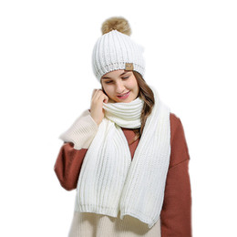 Wholesale White Ski Hats Womens - Womens Girls Ladies Winter Warm Thicken Crochet Knitted Scarves Hats Sets Suit For Outdoor Skiing Sports Driving Activities