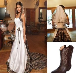 Wholesale Cheap Sexy Halter Wedding Dress - A-line Court Train Cheap Realtree Camo Wedding Dresses Halter Fashin Backless With Free Veil High Quality Satin Camo Wedding Dresses