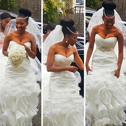 Wholesale Long Dresses For Women Wedding - Sexy Cascading Ruffles Mermaid Wedding Dress For Women Plus Size Beaded Waist White Organza Long Bidal Dresses Gown Court Train
