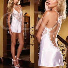 Wholesale Satin Sexy Sleepwear - Wholesale-Women Sexy Backless Lace Dress Satin Lingerie Nightwear Underwear Ladies Sleepwear Babydoll
