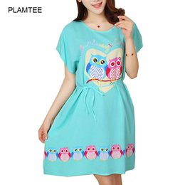Wholesale Short Nightgowns For Women - Wholesale-2016 Plus Size Pyjamas for Women Lounge Dresses O Neck Sleeping Dress Personality Print Nightgown Female Soft Loose Night Dress