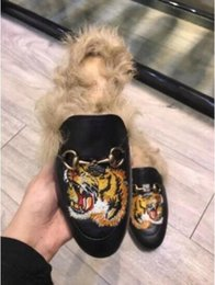 Wholesale Free Mules - Free shipping NEWLY MEN'S PRINCETOWN LEATHER FUR SLIPPER MULE