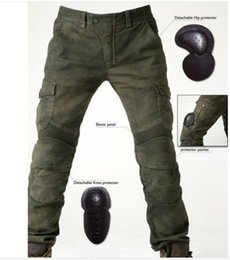 Wholesale Olive S - free shipping Men's motorcycle pants uglyBROS 06 Motorpool riding jeans racing Protective pants of locomotive Black Stain over Olive green