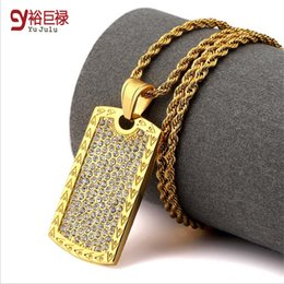 Wholesale Hip Ornaments - 2016Trendy 18k Gold Plated Army Charm Men Women Trendsetter AA Rhinestone Pendant Necklace Titanium Tags Hip Hop Male Ornaments Jewelry Gift
