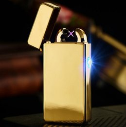 Wholesale Electronics Lighter - 2016 Male gift Arc Lighters metal USB Rechargeable Flameless Electric Arc Windproof Cigar Cigarette Lighter Cross Double Pulse Slim Ligh