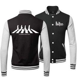 Wholesale Mens Cool Winter Jackets - Fall-New 2015 Fashion Warm Winter Cool Mens Coats Hip Hop The Beatles Rock Band Sweatshirts Baseball Bomber Jacket Men 3XL