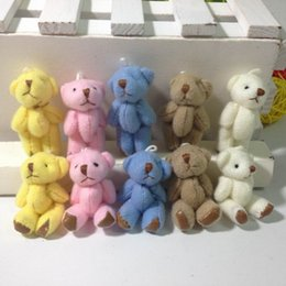 "Wholesale Miniature Keys - Bulk 4.5cm(1.8"") Plush Joint Small Teddy Bear Pendants miniature bear Key chain  Bouqeut jewellery accessory gift Soft Dolls"