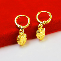 Wholesale Gold Faded Earrings - Do not fade really gold jewelry buckle bride wedding gifts gold earrings delicate female gold-plated heart-shaped ears