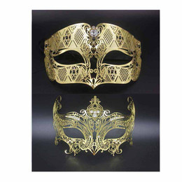 Corona di nozze sexy online-Maschere per feste Sexy Maschera 1 Set oro Phantom Crown Set Compleanno Wedding Costume Dress Party Ball Metallo veneziano uomini donne Mask Set
