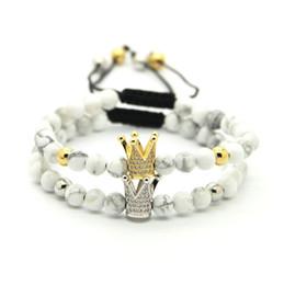 pietre bianche di platino Sconti Vendita all'ingrosso 6mm White Howlite Marbel Sediment Stone Beads Bracciale in oro e platino con corona intrecciata CZ