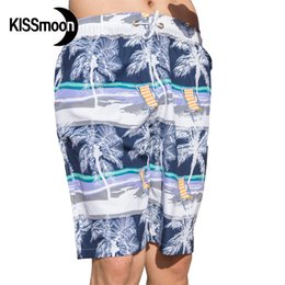 Wholesale Couples Chair - Wholesale-KISSmoon Quick-drying Coconut tree Sunshine deck chair man shorts bath Boardshort surf swimwear Couple Men board shorts KBS1115