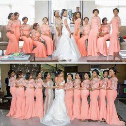 Vestido tamanho laranja on-line-Luz Laranja Plus Size Vestidos de Dama de Honra 2017lace Ilusão Manga Longa Sereia Empregada de Honra Vestidos de Chiffon Vestidos de Convidados Do Casamento