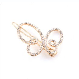 Wholesale Crystal Hair Grips - Fashion Hair Accessories Headwear Hair Grips Gold Silver Plated Crystal Butterfly Hair Clip Hairpins Barrette Jewelry For Women Girls DHF871