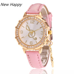 Wholesale Mm Notes - Fashion Women Diamond Watches Music Note Patten Luxury Crystal Analog Leather Quartz ladies casual Wrist Watch Dropshipping
