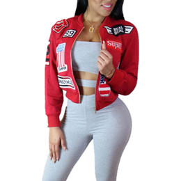 Wholesale Basic Long Sleeve - Wholesale- Bomber Jacket Women 2016 Spring Autumn Long Sleeve Letters Number Printed Short Jaksjet Basic Coats Black Red Chaquetas Mujer