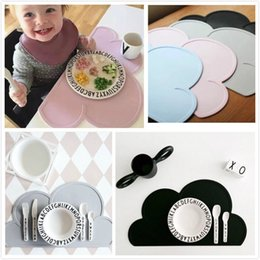 Wholesale Modern Dinnerware - Wholesale- 2016 New Silicone cloud Placemat Heat Resistant Mat with 3 color Children Dinnerware Kitchen Accessories 48*27cm