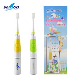 Wholesale Electric Light Toothbrush - SEAGO New Intelligent Kids LED Light Baby Soft-bristle Sonic Child Electric Toothbrush SG-618 with 3 Brush Head Yellow Green
