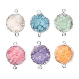 Wholesale Natural Stones For Pendant Making - Druzy Stone Necklace Pendant DIY Natural Stone Edge Covering Charm 15mm*15mm*6mm Silver Natural Druse Accessories For Jewelry Making